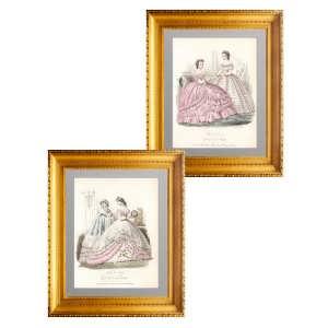 Комплект из двух гравюр. Парижская мода по-милански. 1863г. Антикварный подарок даме