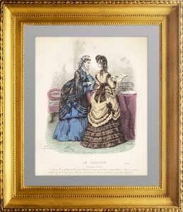 Салонная мода. Париж. 1868г. Ручная раскраска. Le Caprice . Антикварный подарок даме