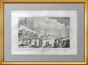 """Старинная гравюра на меди """"Русские сани"""". 1777г. Мидлтон"""