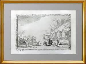 Старинная гравюра на меди «Русские сани». 1782г. Миллар