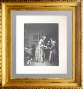 Дама в атласном платье. 1655/1845г. Терборх / Пейн. Старинная гравюра