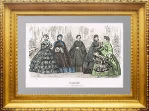 Женская мода для рукодельниц. 1860г. Декабрь. Штутгарт. Старинная гравюра в подарок даме