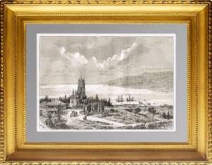 Крым. Ялтинская бухта. Старинная гравюра. 1880г. Вебер. Антикварный подарок
