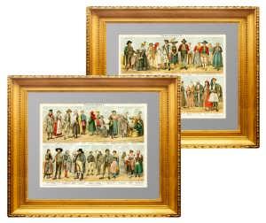Народные костюмы Европы. Две старинные литографии. 1895г.