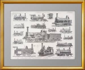 Старинные локомотивы различных видов. 1876г. Гравюра. Подарок железнодорожнику