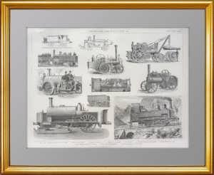 Локомотивы и двигатели. 1876г. Старинная гравюра на стали. Подарок железнодорожнику