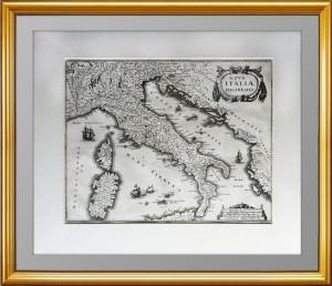Старинная карта Италии NOVA ITALIÆ  DELINEATIO. 1638г. Музейный экземпляр