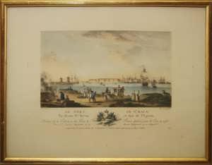 """Антикварная гравюра """"Вид на порт Сен-Мало"""". 1776г.  Музейный экземпляр."""