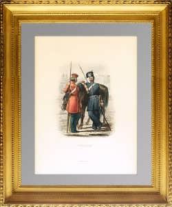 Казаки в парадной офицерской форме. 1855г. Aнтикварная гравюра