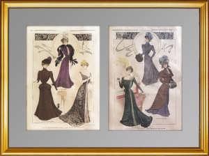 Комплект из двух литографий (1) 1920г. Парижская мода. 62x45! Антикварный подарок женщине