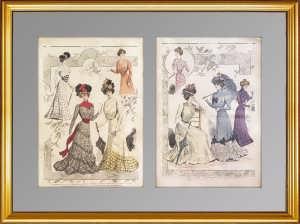 Комплект из двух литографий (2) 1920г. Парижская мода. 62x45! Антикварный подарок даме