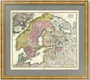 Старинная карта. Скандинавия и Россия. 1720г. (ок.) Хоманн. Музейный экземпляр