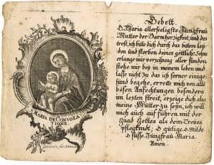 Святая Мария Утешительница. Молитва. ок. 1740г. Гравюра