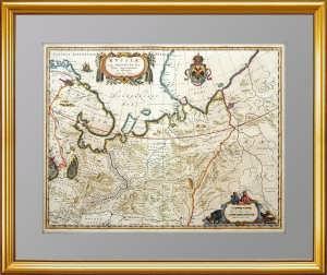 """Старинная карта """"Северная часть Московии"""". 1645г. Масса. Роскошный VIP подарок в кабинет"""