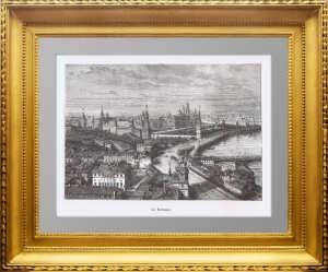 Москва. Вид на Кремль. 1887г. Старинная ксилография. Антикварный подарок