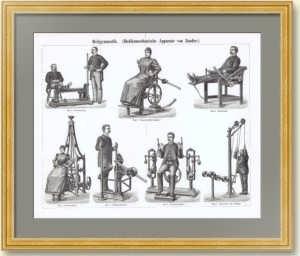 Фитнес-тренажеры Цандера. 1896г. Антикварная гравюра. Подарок любителю фитнеса