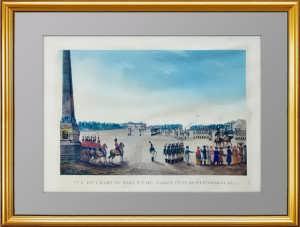 Вид на Марсово поле и Летний сад в Петербурге. 1815г. Гравюра на меди, акварель