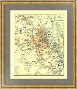 Киев. Старинный литографированный план. 1903г.