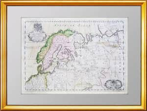 Старинная карта Московии и Скандинавии. 1700г. Антикварный подарок музейного уровня
