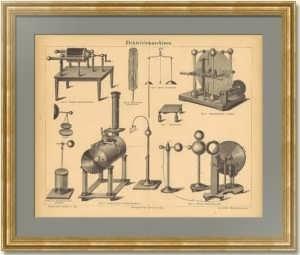 Электростатические машины. 1876г. Антикварная гравюра. Подарок энергетику, электрику