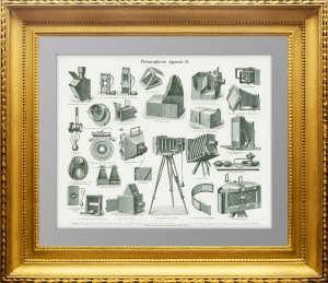 Фотографические аппараты. 1896г. Антикварная гравюра. Подарок фотографу.