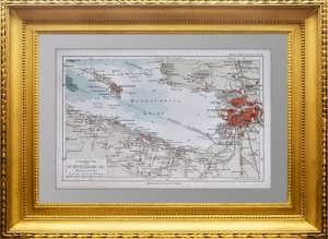Петербург с окрестностями. Ок. 1900г. Старинная карта - антикварный подарок