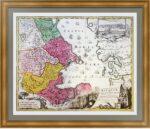 Старинная карта Каспийского моря (Баку, Дагестан). 1728г. Музейный экземпляр