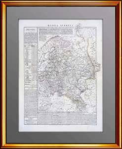 Антикварная итальянская карта России с Финляндией и Польшей. 1847г. 71x52!