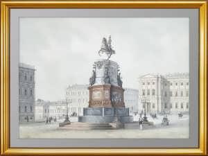 Петербург. Памятник Николаю I. 1859г. Редкая антикварная литография