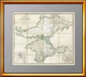 Антикварная карта Таврической губернии (Крым). Ок. 1860г. Ильин