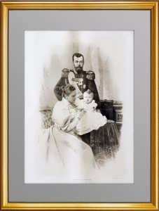 Николай II с семьёй. 1896г. Редкая большая гравюра. 56x39! ВИП подарок