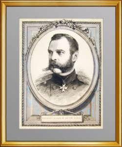 Александр II. Старинный гравированный портрет. 1874г.
