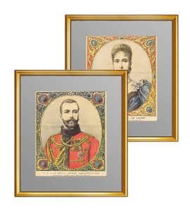 Николай II и императрица Александра Феодоровна. 1894г. Комплект из двух антикварных портретов