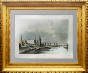 Москва. Кремль и Каменный мост. 1838г. Кадоль. N22. Старинная гравюра, акварель