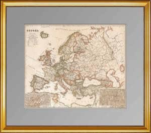 Карта Европы на русском языке. Ок. 1900г. Большой настенный формат. Редкость