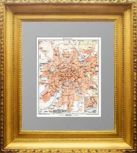 Старинный план Москвы. 1904г. Брокгауз. Элегантный антикварный подарок в кабинет