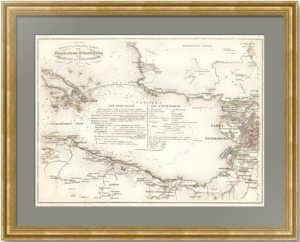 Финский залив от Кронштадта до Петербурга. 1856г. Антикварная карта - ВИП подарок
