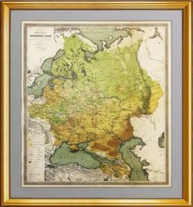 Большая карта экономики европейской России. 1871г. Антикварный VIP подарок - старинная карта