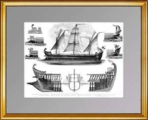 История флота. Пентера. 1870г. Старинная гравюра - ВИП подарок моряку, корабелу