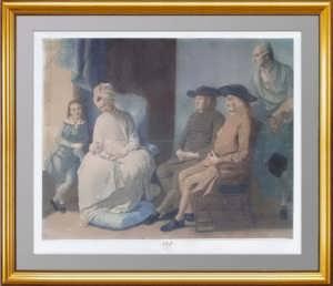 Семейный портрет, Уэст. 1779г. Антикварная гравюра, посвящена Екатерине II