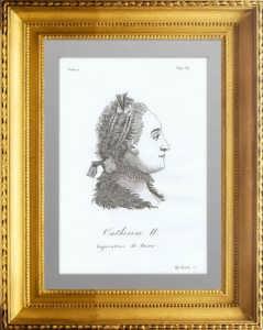 Екатерина II. Портрет. 1821г. Рокотов/Болли. Антикварная гравюра - ВИП подарок