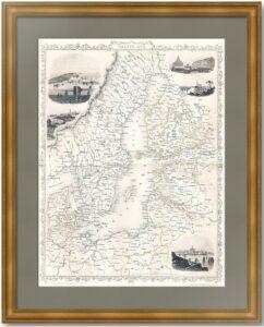 Балтика с видами Российской империи. 1851г. Антикварный  ВИП подарок купить