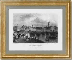 Петербург. Троицкий мост. Шрадер. 1863г. Старинная гравюра - антикварный ВИП подарок