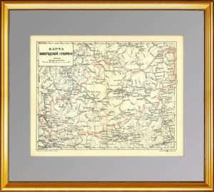 Вологодская губерния. Старинная карта. 1895г. Ильин