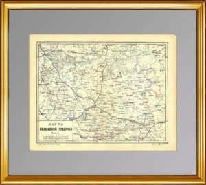 Волынская губерния. 1895г. Старинная административная карта. Ильин