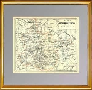 Воронежская губерния. 1896г. Старинная административная карта. Ильин