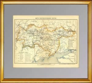 Екатеринославская губерния (Днепропетровск). Старинная карта. 1896г. Руднев.