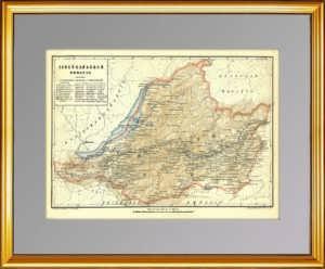 Забайкальская область. Старинная карта. 1896г. Руднев. Антикварный подарок в Москве