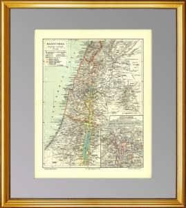 Израиль, Палестина, план Иерусалима. 1896г. Старинная карта - антикварный подарок