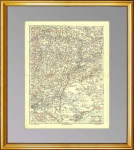 Поволжье. 1896г. Старинная карта — антикварный VIP подарок мужчине в кабинет